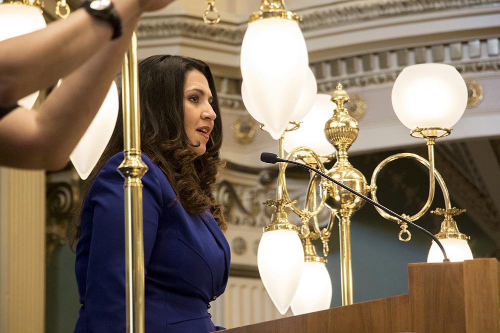 Speaker of the House Crisanta Duran speaks before Governor John Hickenlooper gives his State of the State address, Jan. 11, 2017. (Kevin J. Beaty/Denverite)