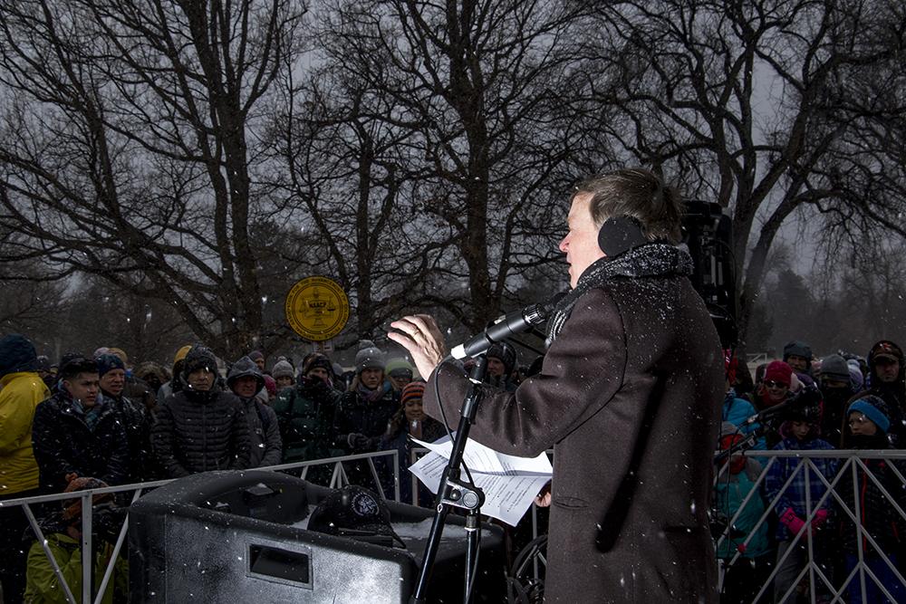 Governor John Hickenlooper speaks before the march leaves City Park. The Martin Luther King Jr. Day Marade, Jan. 15, 2018. (Kevin J. Beaty/Denverite)mlk; martin luther king jr; marade; parade; march; denver; colorado; denverite; protest; city park;
