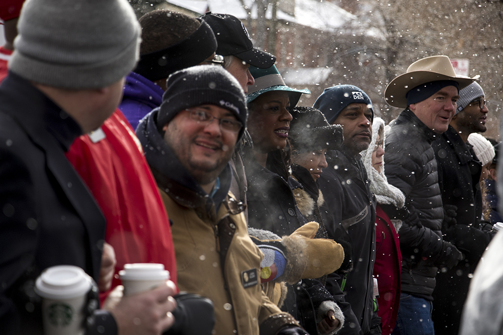 Martin Luther King Jr. Day Marade dignitaries lead the march out of City Park, Jan. 15, 2018. (Kevin J. Beaty/Denverite)mlk; martin luther king jr; marade; parade; march; denver; colorado; denverite; protest; city park;