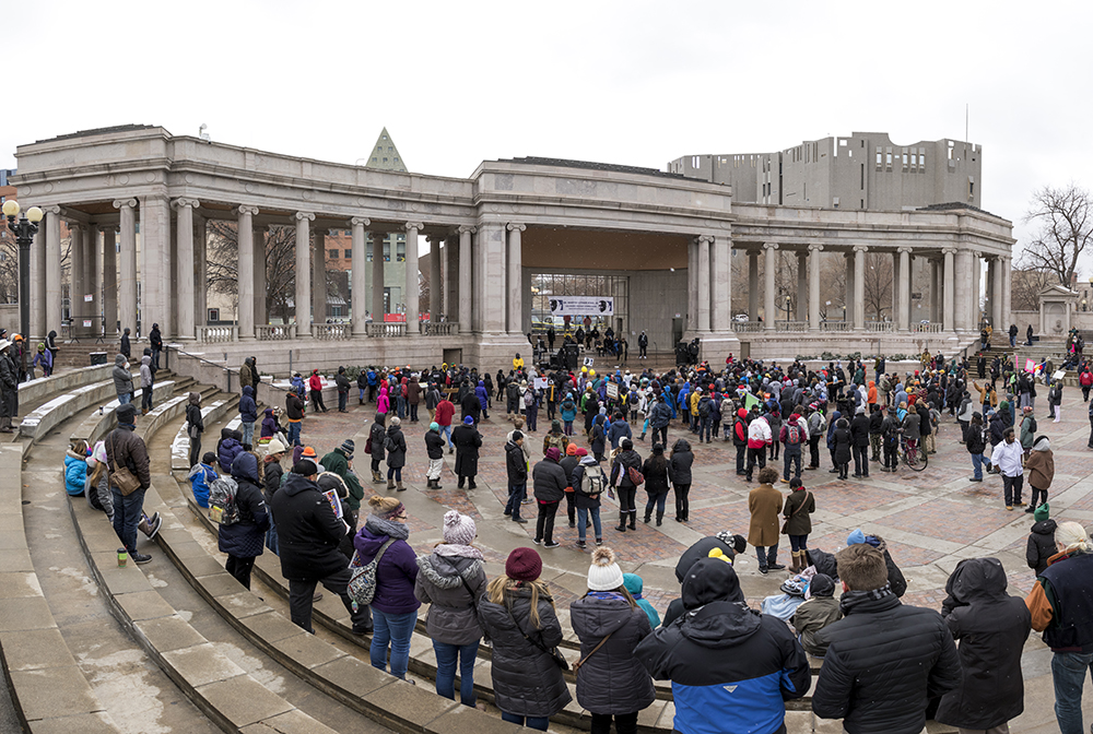 The Martin Luther King Jr. Day Marade has reached Civic Center Park, Jan. 15, 2018. (Kevin J. Beaty/Denverite)  mlk; martin luther king jr; marade; parade; march; colfax; denver; colorado; denverite; protest; civic center park;