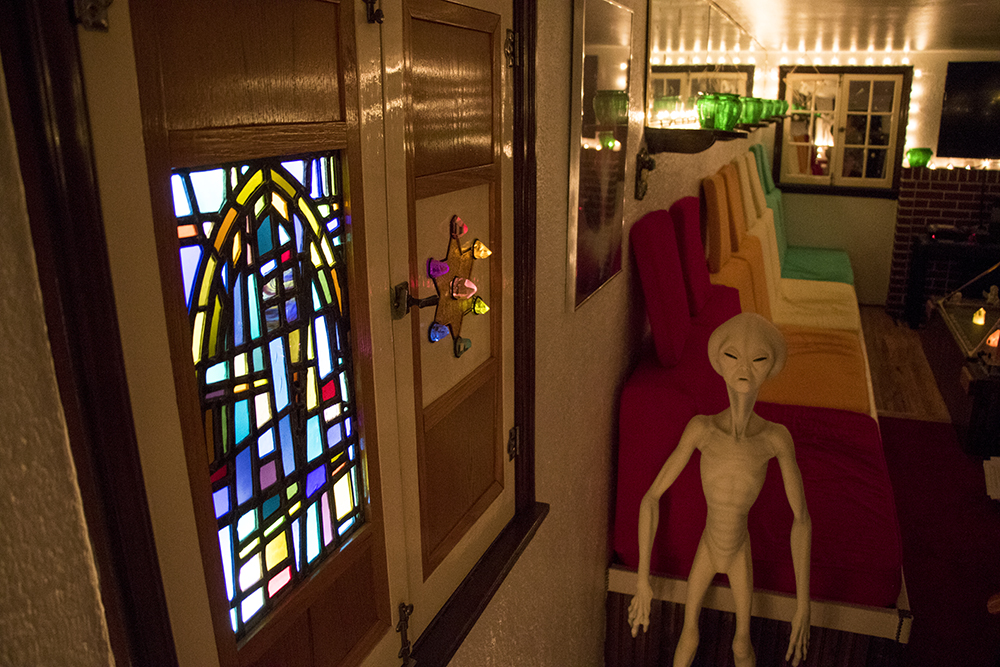 "Spirit Master Gary L. Johnson's ""rainbow chamber"" in his home across the street from Washington Park. (Kevin J. Beaty/Denverite)  denver; colorado; denverite; kevinjbeaty; washington park west; residential real estate; collector; spirituality;"