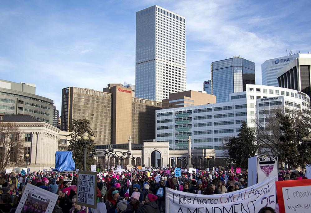 The 2018 Women's March. Civic Center Park, Jan. 20, 2018. (Kevin J. Beaty/Denverite)  protest; rally; copolitics; denver; colorado; denverite; kevinjbeaty; civic center park;