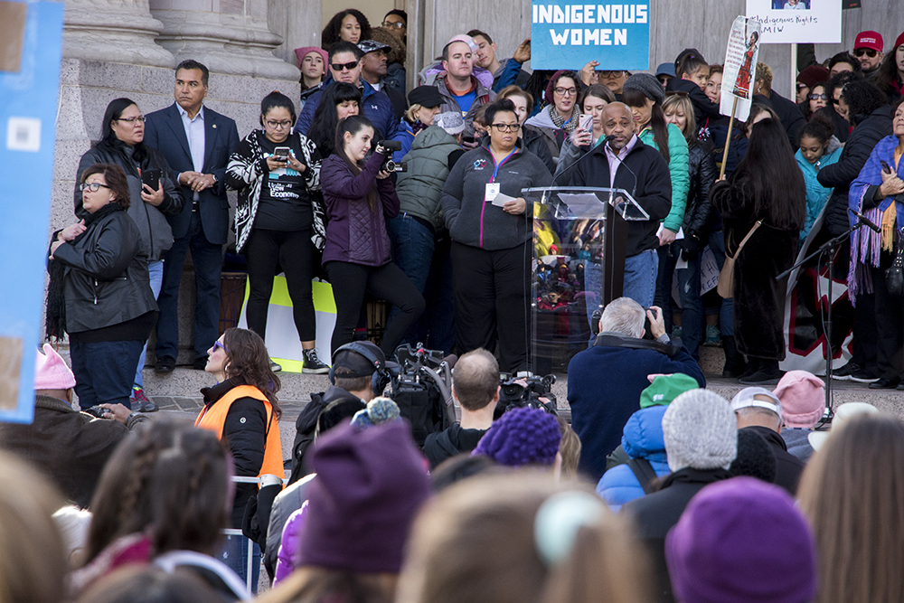 Mayor Michael Hancock speaks before the 2018 Women's March, Jan. 20, 2018. (Kevin J. Beaty/Denverite)  protest; rally; copolitics; denver; colorado; denverite; kevinjbeaty;