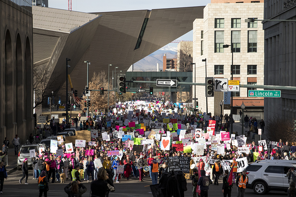 The 2018 Women's March, Jan. 20, 2018. (Kevin J. Beaty/Denverite)  protest; rally; copolitics; denver; colorado; denverite; kevinjbeaty;