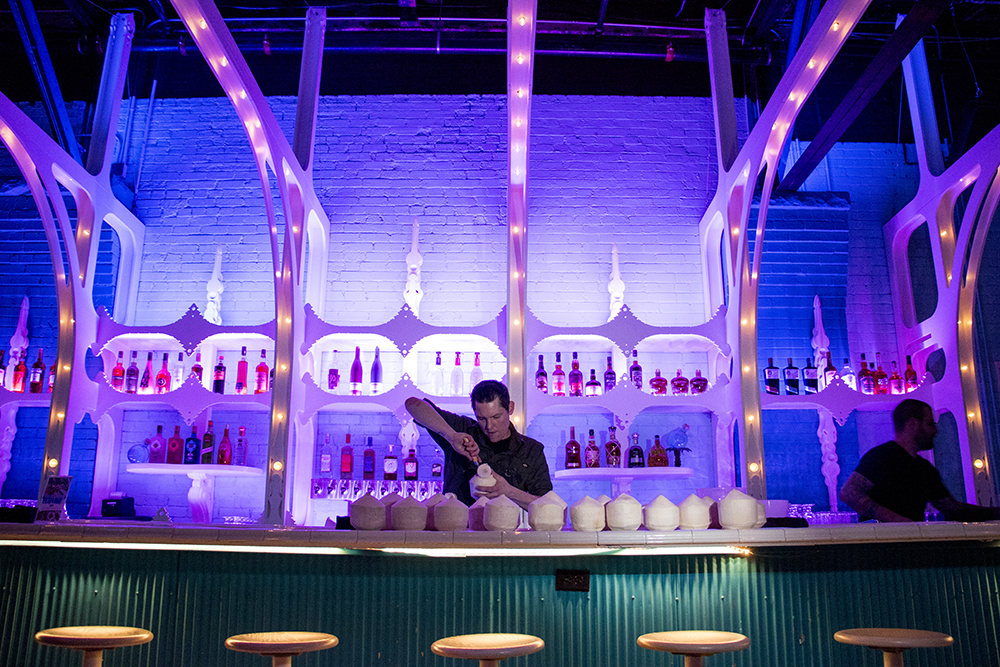 Bang Up To The Elephant beverage director Dylan Holcomb at work before the restaurant's press opening, Jan. 23, 2018. (Kevin J. Beaty/Denverite)  restaurants; nightlife; food; denver; colorado; capitol hill; bars; kevinjbeaty;