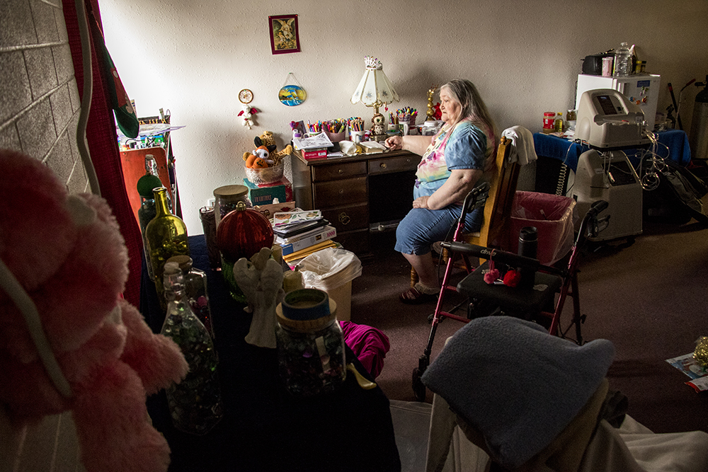 """I love my place, this is my home,"" says Doris Wascher, who was homeless before moving into Golden Manor. ""I thought this was going to be the last place I would have to move,"" she said. "" I thought this is where I was gonna die."" A meeting informing Golden Manor residents on details for the assisted living facility's closure in three months, Jan. 25, 2018. (Kevin J. Beaty/Denverite)  assited living; aging; affordable housing; housing; elder care; denver; denverite; west colfax; kevinjbeaty;"