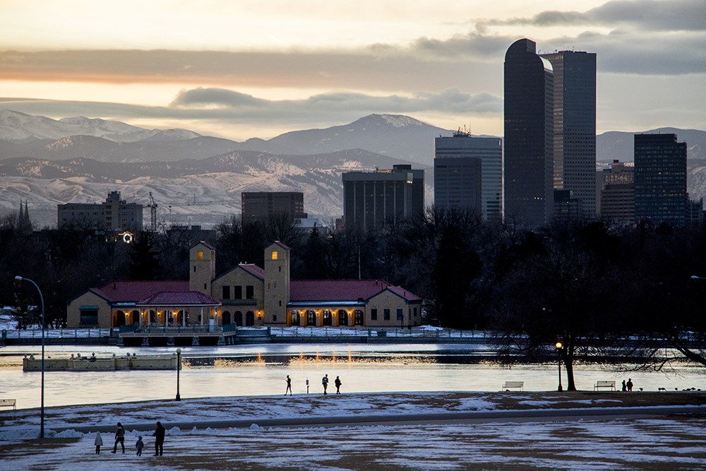 City Park is cold but pretty on a January evening, Jan. 29, 2018. (Kevin J. Beaty/Denverite)  city park; sunset; skyline; cityscape; weather; cowx; evening; winter; cold;