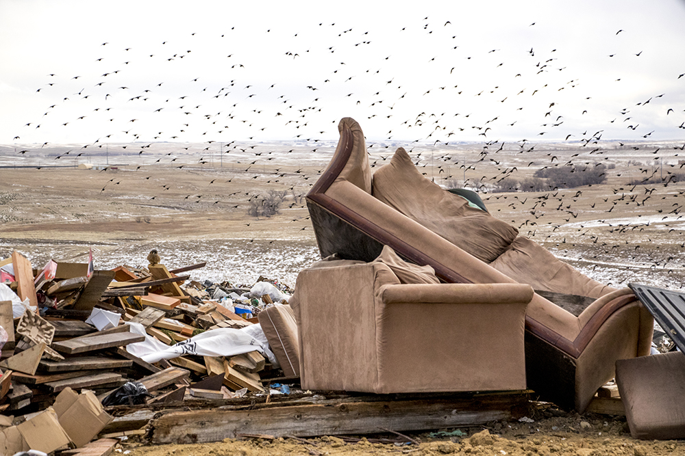Garbage and tons of birds atop the active dumping site. Denver Arapahoe Disposal Site, the landfill owned by Denver and operated by Waste Management. Jan. 26, 2018. (Kevin J. Beaty/Denverite)  waste management; garbage; environment; trash; dump; landfill; denverite; kevinjbeaty; colorado; aurora;