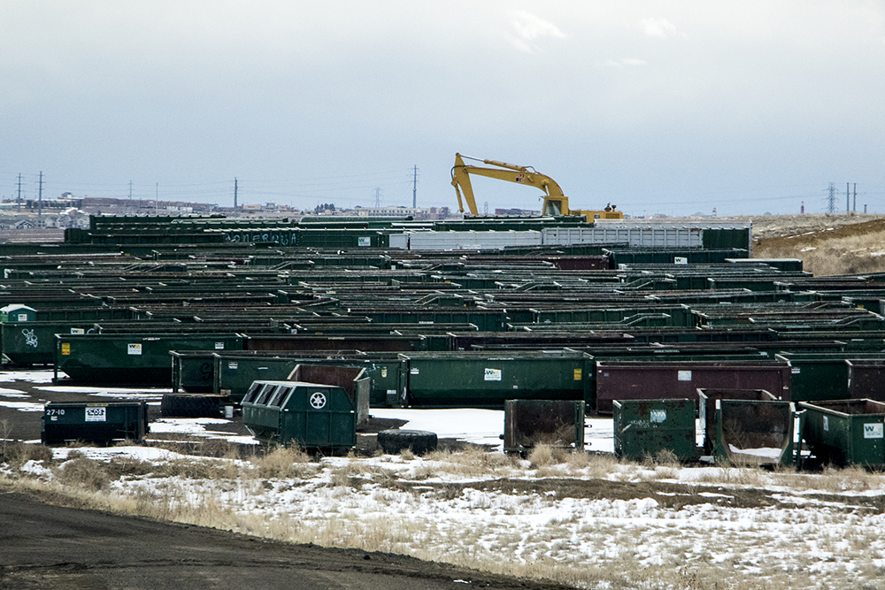 A sea of dumpsters. Denver Arapahoe Disposal Site, the landfill owned by Denver and operated by Waste Management. Jan. 26, 2018. (Kevin J. Beaty/Denverite)  waste management; garbage; environment; trash; dump; landfill; denverite; kevinjbeaty; colorado; aurora;