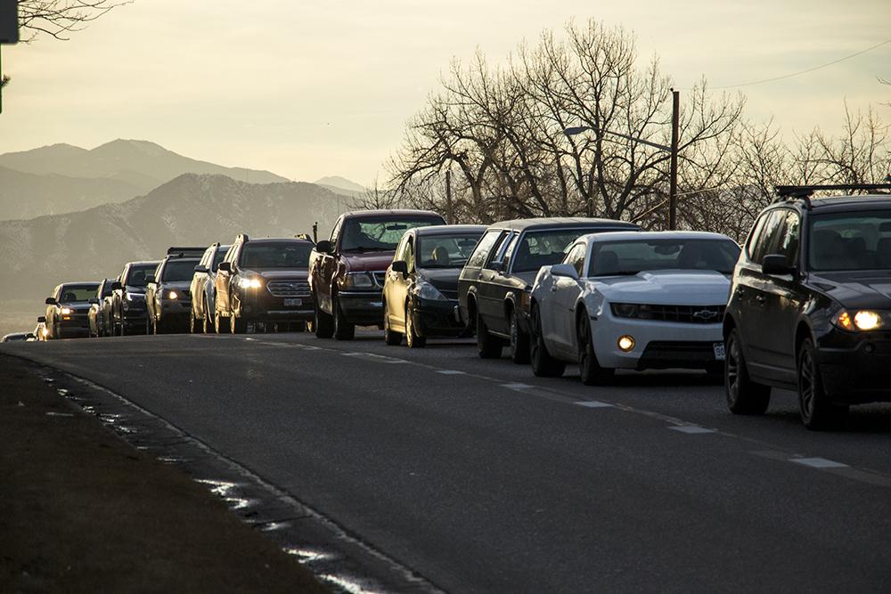 Some decent traffic action on Hampden Avenue near Colorado Boulevard, Jan. 30, 2018. (Kevin J. Beaty/Denverite)  denver; colorado; denverite; kevinjbeaty; traffic; transportation; cars; rush hour;