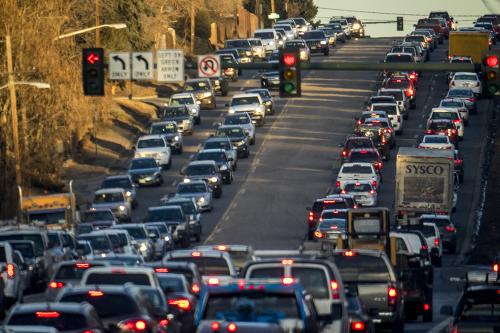 Some decent traffic action on Hampden Avenue near Colorado Boulevard, Jan. 30, 2018. (Kevin J. Beaty/Denverite)