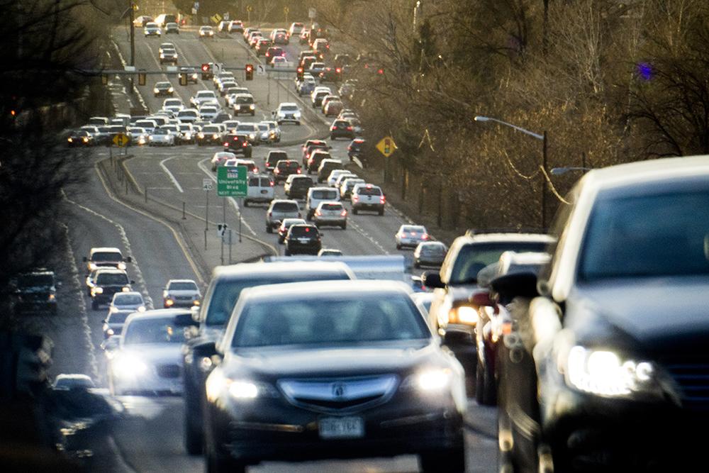 Some decent traffic action on Hampden Avenue. Boulevard, Jan. 30, 2018. (Kevin J. Beaty/Denverite)