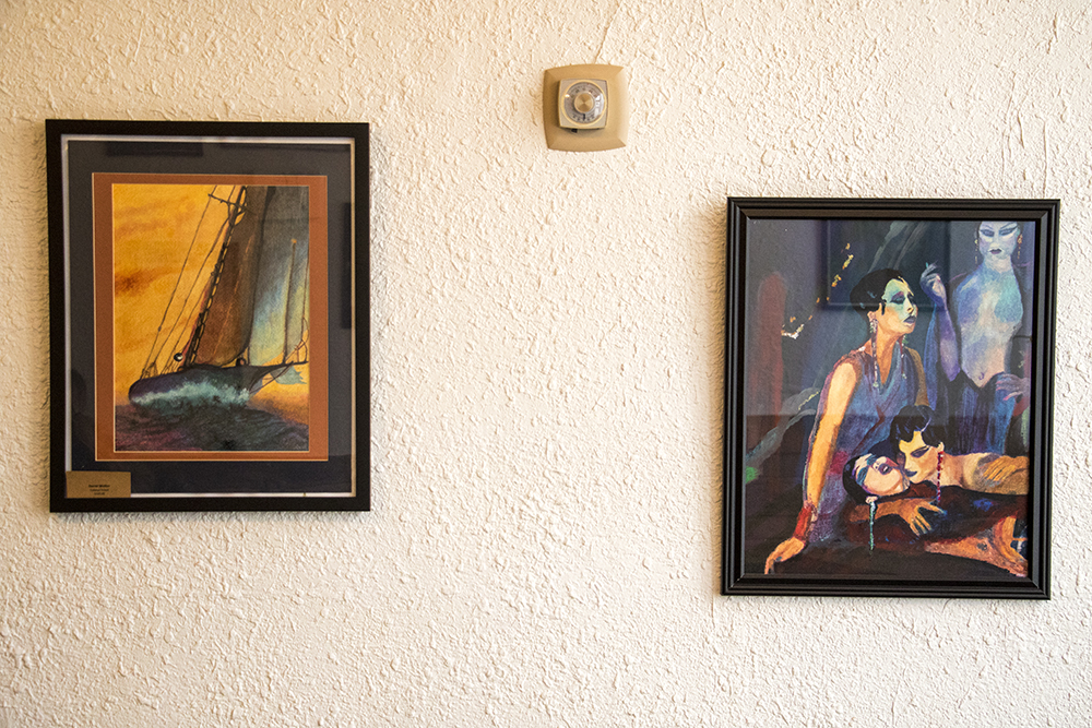 Art on the wall at Open Door Tea Shop in the Cole neighborhood, Jan. 30, 2018. (Kevin J. Beaty/Denverite)  tea shop; coffee shop; food; denver; colorado; denverite; kevinjbeaty; cole; social enterprise;