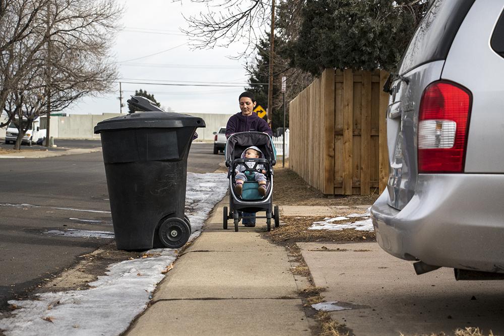 Jody Davison gives a tour of her walking route to the Colorado RTD station in University Hills, Jan. 31, 2018. (Kevin J. Beaty/Denverite)  denver; colorado; denverite; kevinjbeaty; pedestrians; university hills; sidewalks;