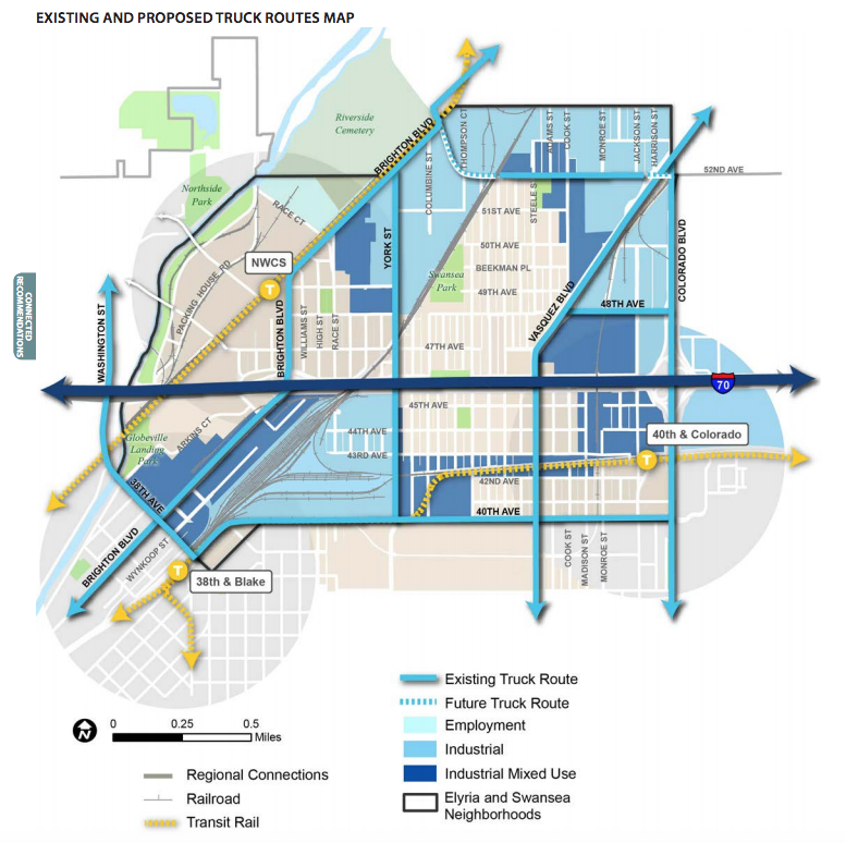 A map of current and proposed truck routes around Elyria-Swansea from a 2015 city plan. (City and County of Denver)