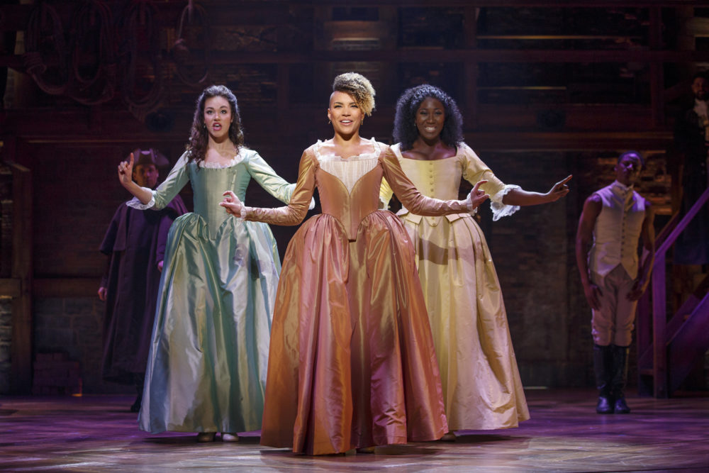 """Solea Pfeiffer, Emmy Raver-Lampman and Amber Iman as the Schuyler sisters in the """"Hamilton"""" National Tour. (Photo: Joan Marcus)"""