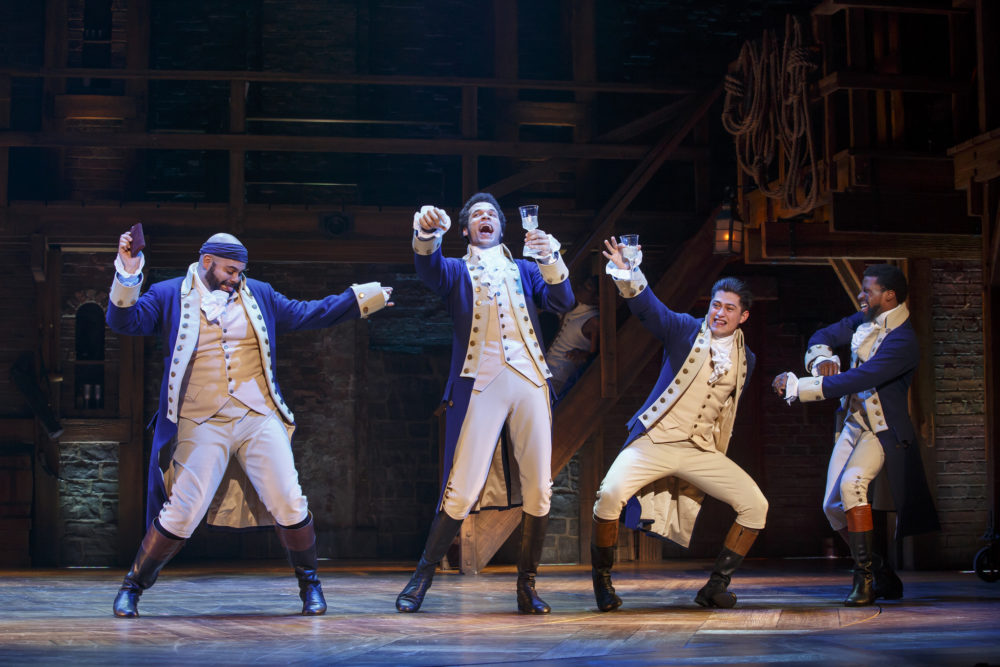 "Mathenee Treco, Jordan Donica, Ruben J. Carbajal and Michael Luwoye in the ""Hamilton"" National Tour (Photo: Joan Marcus)"