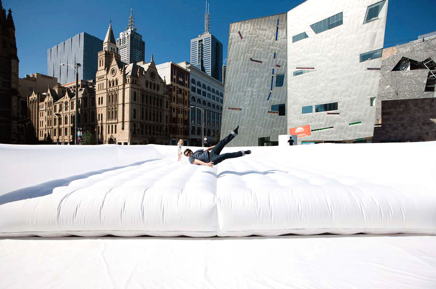 "Stuart Semple's ""Jump"" in Federation Square, Melbourne. (Courtesy of Stuart Semple Studios"