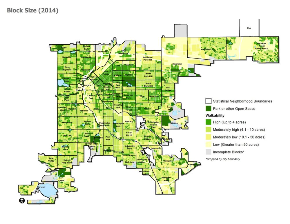 A map of block sizes in Denver in 2014. (City and County of Denver)