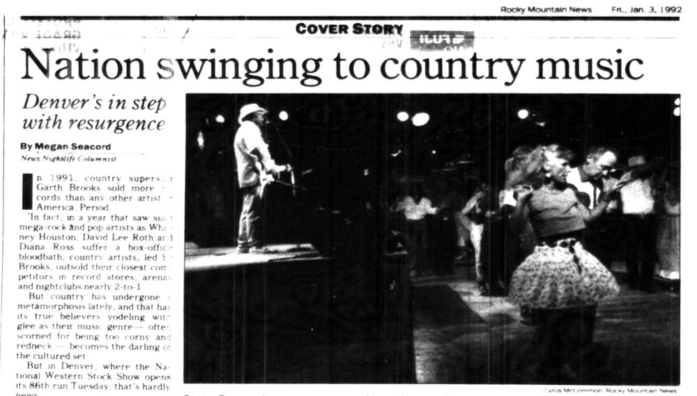 The Rocky Mountain News, Jan. 3, 1992. (Denver Public Library/Western History Collection)  country music; country bar; bars; nightlife;