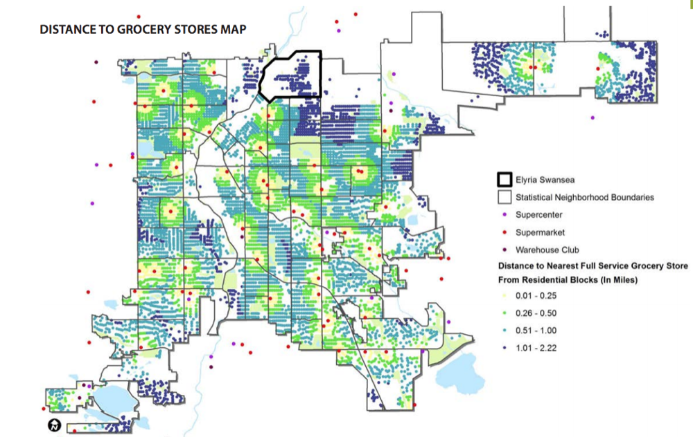A map of grocery store locations from a 2015 report. (City and County of Denver)