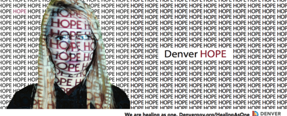 "The ""Denver Hope"" billboard designed by Albany-Sydonia Reynolds at Arts Street. (Courtesy of the city and county of Denver)"