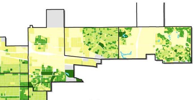 Stapleton, at left, marks the edge of northeast Denver's rectangular-block system. (City and County of Denver)