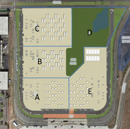 A map of a temporary homeless services campus planned for Lakewood near the Federal Center station. (Colorado Coalition for the Homeless)