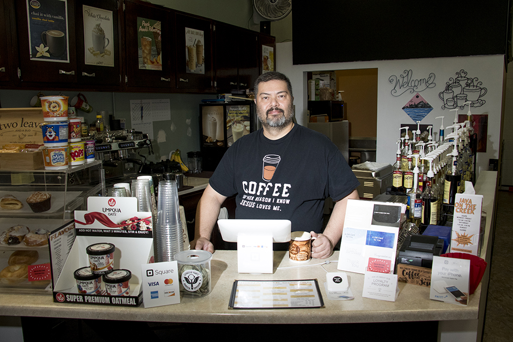 Java on the Creek owner Johnny Marshall in his Bear Valley shop, Feb. 1, 2018. (Kevin J. Beaty/Denverite)  bear valley; suburbs; kevinjbeaty; denver; denveritel colorado;