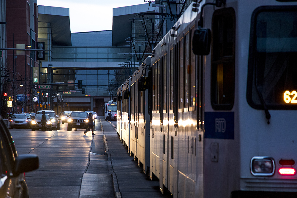 An RTD train downtown, Feb. 5, 2018. (Kevin J. Beaty/Denverite)  denver; colorado; denverite; kevinjbeaty; central business district; rtd; transportation;