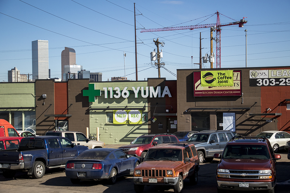 The Coffee Joint next to I-25 in Lincoln Park, Feb. 6, 2018. (Kevin J. Beaty/Denverite)