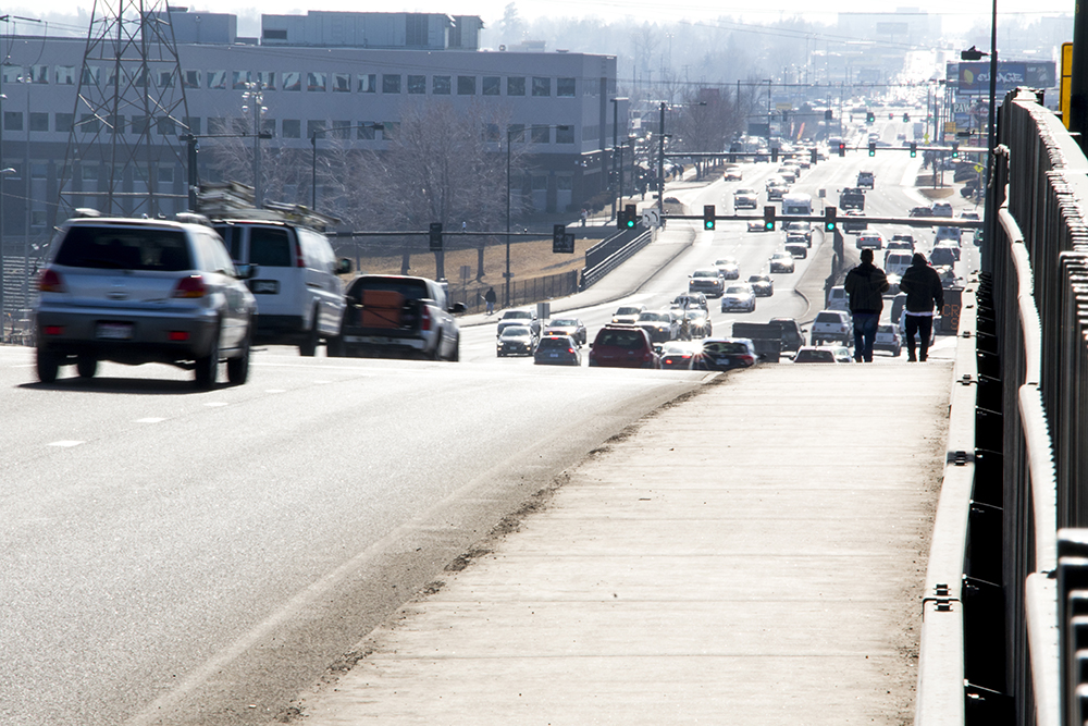 The Colfax Avenue cloverleaf at Federal Boulevard, Feb. 6, 2018. (Kevin J. Beaty/Denverite)   colfax; sun valley; traffic; transportation; kevinjbeaty; denverite; colorado; denver;