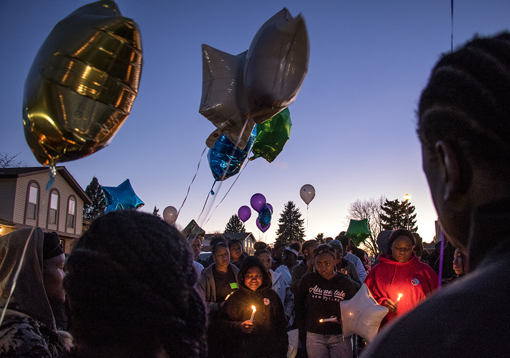 A vigil for Byron Ware, who was shot and killed just days prior. Feb. 6, 2018. (Kevin J. Beaty/Denverite)  montbello; crime; gun violence; denver; denverite; kevinjbeaty; colorado; vigil;