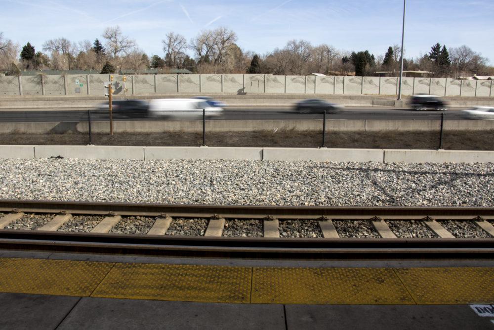 I-25 seen from an RTD station, Feb. 7, 2018. (Kevin J. Beaty/Denverite)