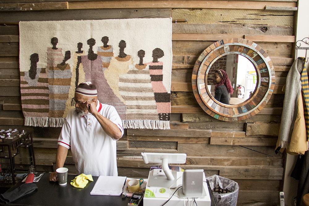 TeaLee's co-owner Louis Freeman (left) and Macia Frazier, Feb. 8, 2018. (Kevin J. Beaty/Denverite)  coffee shop; food; five points; denver; restaurant; kevinjbeaty; denver; denverite;