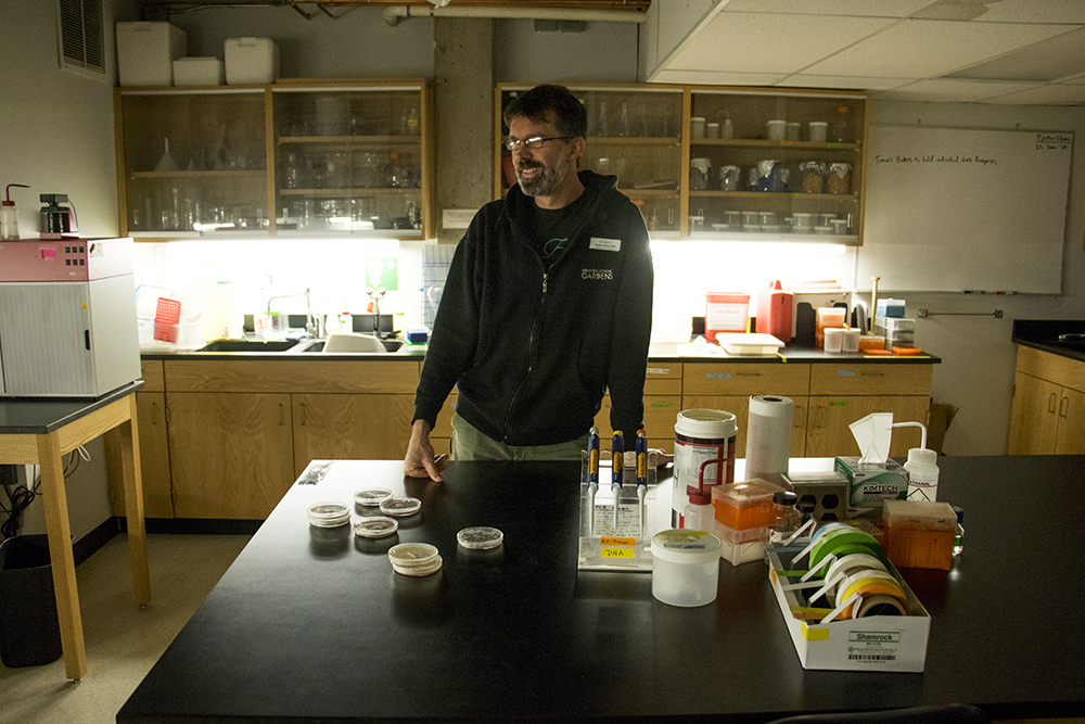 Dr. Andrew Wilson, assistant curator of mycology at the Denver Botanic Gardens, poses for a picture in a DBG lab. Feb. 9, 2018. (Kevin J. Beaty/Denverite)  mushrooms; science; denver botanic gardens; dbg; denver; denverite; colorado; kevinjbeaty;