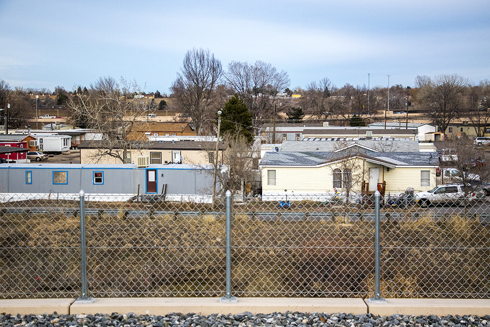Denver Meadows R.V. Park, Aurora. Feb. 15, 2018. (Kevin J. Beaty/Denverite)  mobile home park; trailer park; denver meadows; aurora; residential real estate; denverite; colorado; kevinjbeaty;