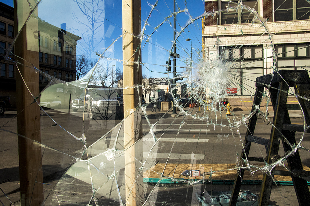 The Hornet on Broadway after a car ran into its north entrance, Feb. 14, 2018. (Kevin J. Beaty/Denverite)  south broadway; denver; denverite; car crash; bars; kevinjbeaty; colorado;