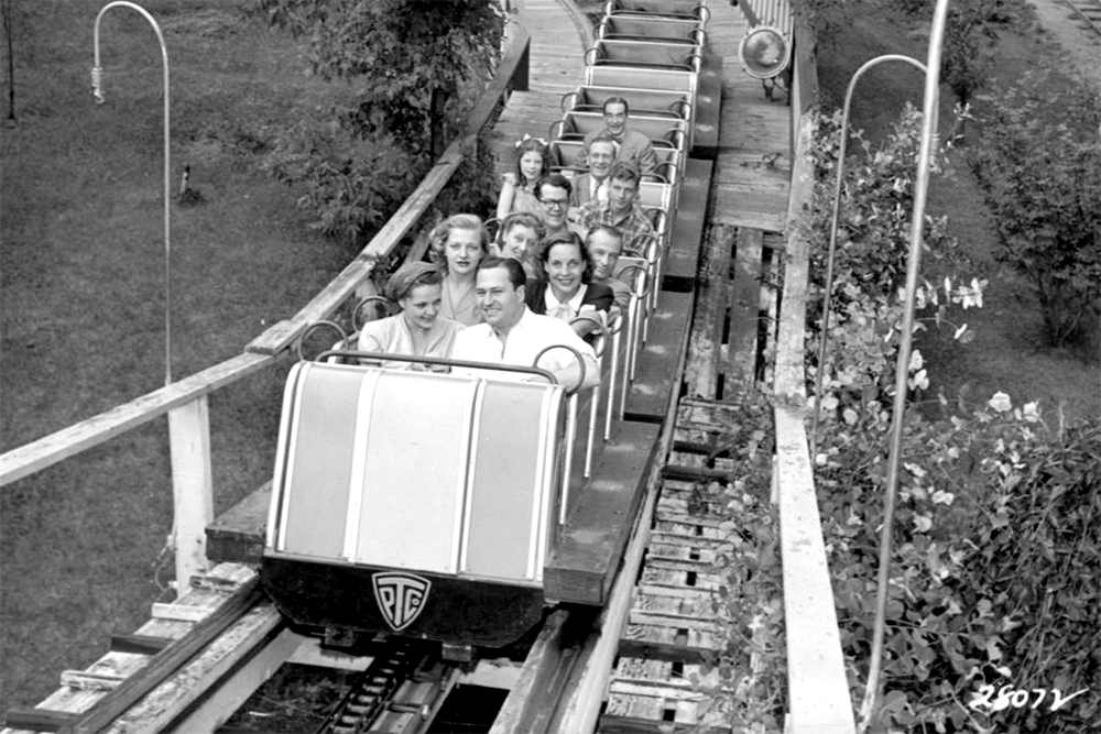 Men and women ride a rollercoaster at Elitch Gardens, circa 1945. (Denver Public Library/Western History Collection/X-27388)  elitch gardens; amusement park; archival; denver; denverite; kevinjbeaty; colorado;