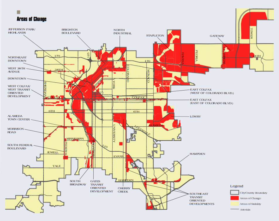 """""""Areas of change"""" are shown in Denver's Blueprint plan from 2002. (City and County of Denver)"""