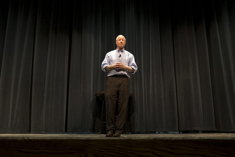 Mike Coffman speaks at a town hall event at Cherry Creek High School, Feb. 21, 2018. (Kevin J. Beaty/Denverite)  copolitics; town hall; mike coffman; greenwood village; denver; colorado; denverite; kevinjbeaty;