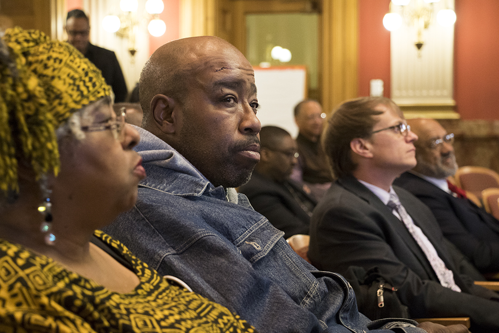 Ray Williams, Daddy Bruce Randolph's great-nephew, as Randolph is honored at the Colorado State Capitol, Feb. 20, 2018. (Kevin J. Beaty/Denverite)  denver; colorado; kevinjbeaty; denverite; daddy bruce randolph;