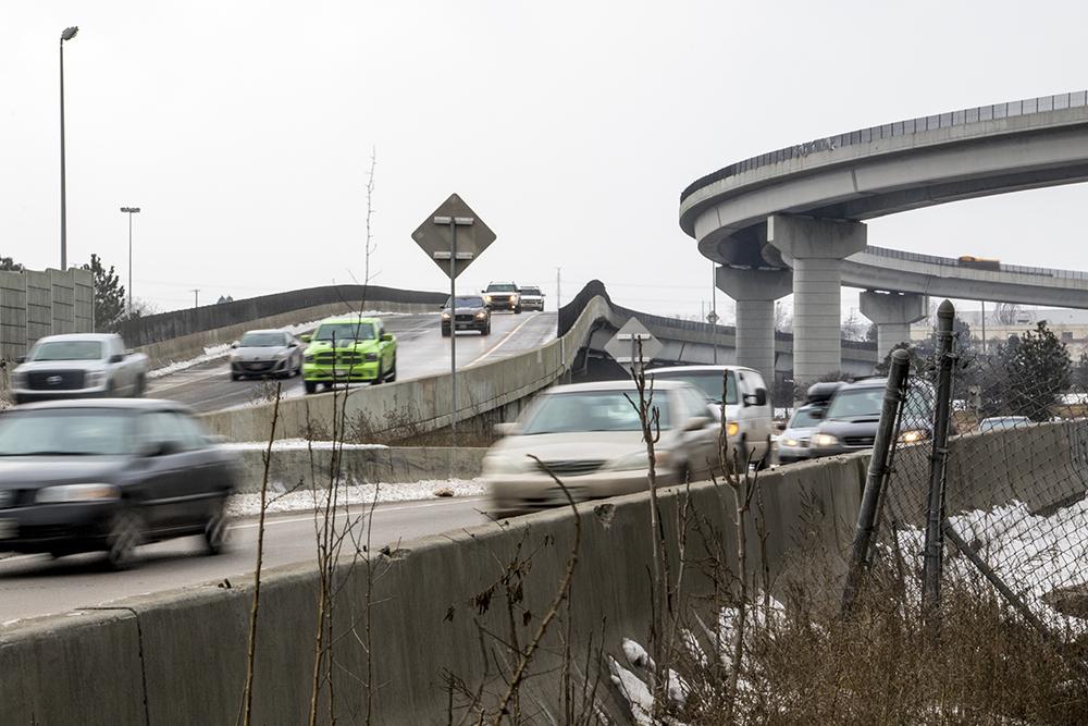 Globeville and the I-25/I-70 interchange, Feb. 23, 2018. (Kevin J. Beaty/Denverite)  denver; denverite; colorado; kevinjbeaty; globeville; air quality;