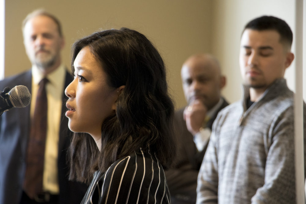 Shiyan Zhang speaks at a press conference on DACA at the History Colorado Center, Feb. 27, 2018. (Kevin J. Beaty/Denverite)  immigration; denver; colorado; denverite; kevinjbeaty;
