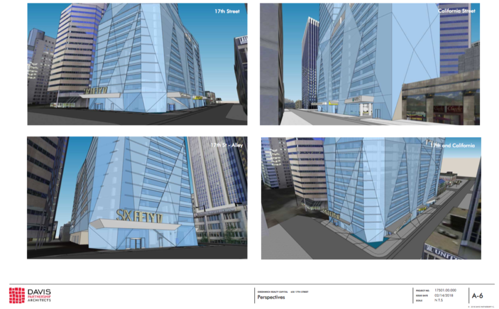 Renderings of the tower proposed for 650 17th Street included in a concept plan by Davis Architecture Partners. (Released by City and County of Denver)