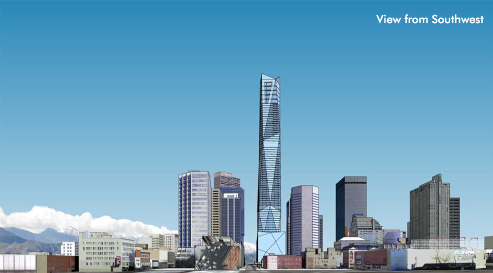 A rendering of the tower proposed for 650 17th Street by Davis Architecture Partners. (Released by City and County of Denver)