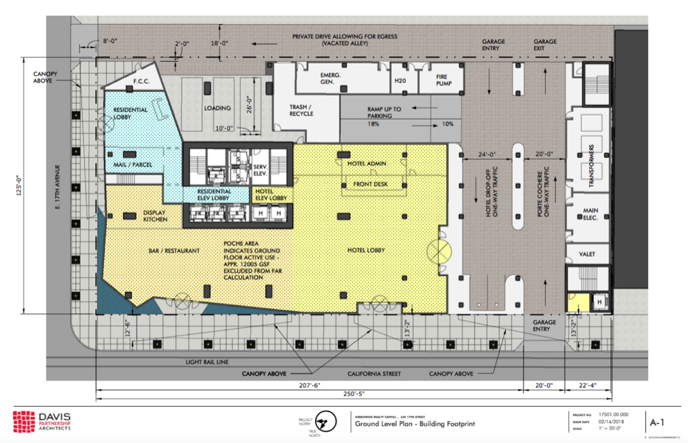 A plan for the ground level of 650 17th Street by Davis Partnership Architects. (Released by City and County of Denver)