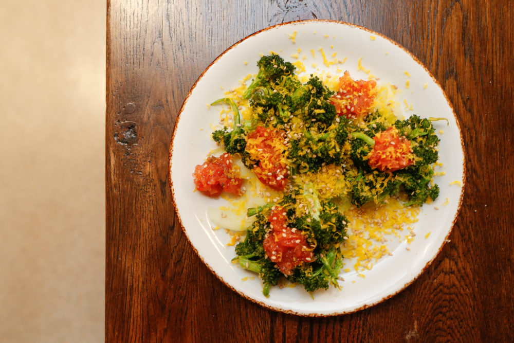 Broccoli with parsnip, blood orange, cured egg yolk and benne seed at Julep, 3258 Larimer St. (Adam Larkey Photography)