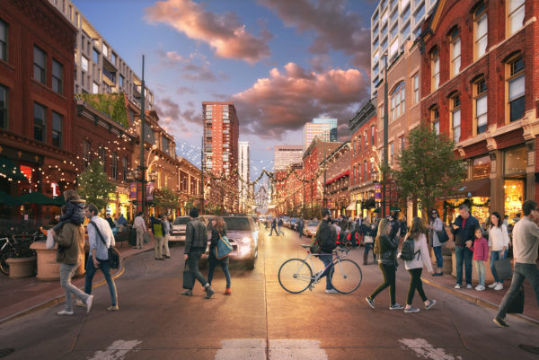 Renderings of Larimer Square including the two new towers.