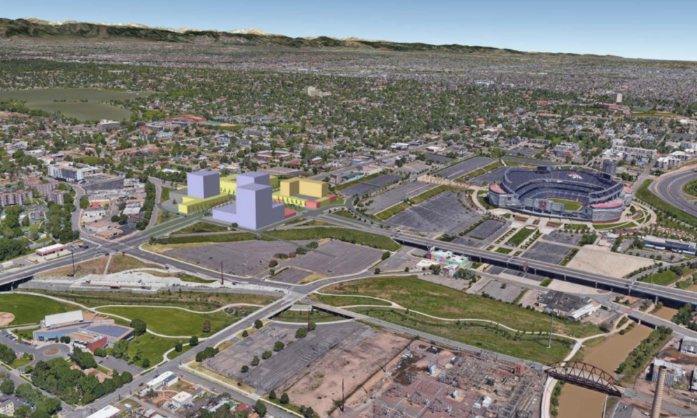 A rendering of the possible changes to the cloverleaf interchange near West Colfax Avenue and Federal Boulevard. (Courtesy of West Colfax Business Improvement District and Walk Denver)